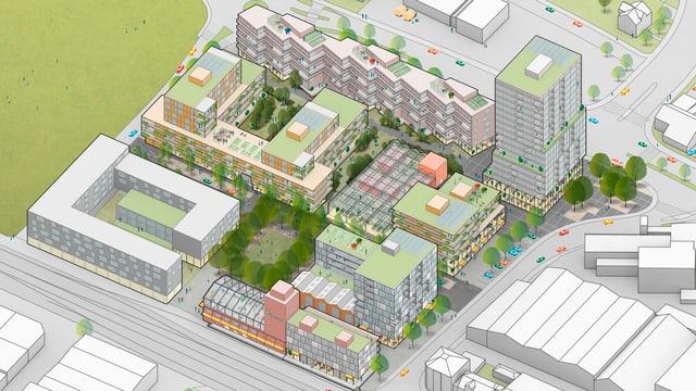 Visualisierung des neuen Quartiers in Ebikon.