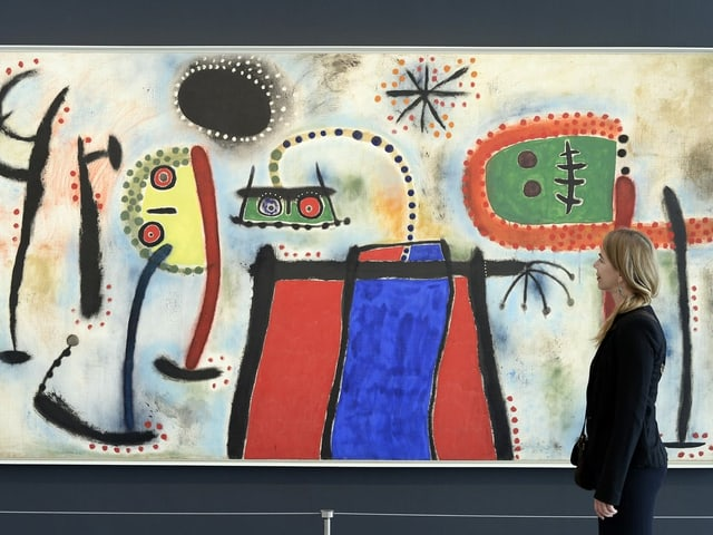 Gemälde mit bunten, abstrakten Figuren