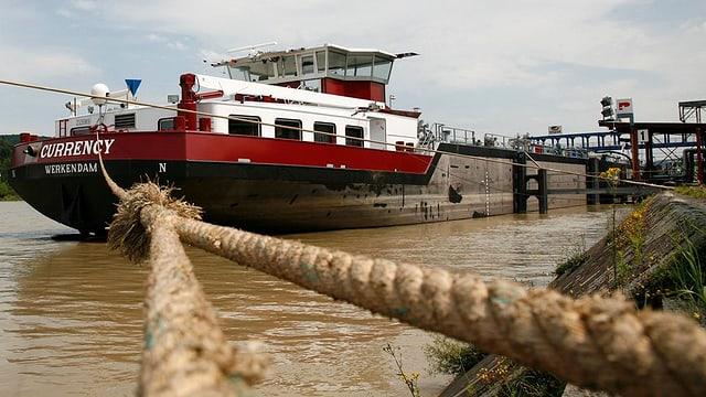 Ein Schiff ist vertäut in der Nähe des Rheinufers.