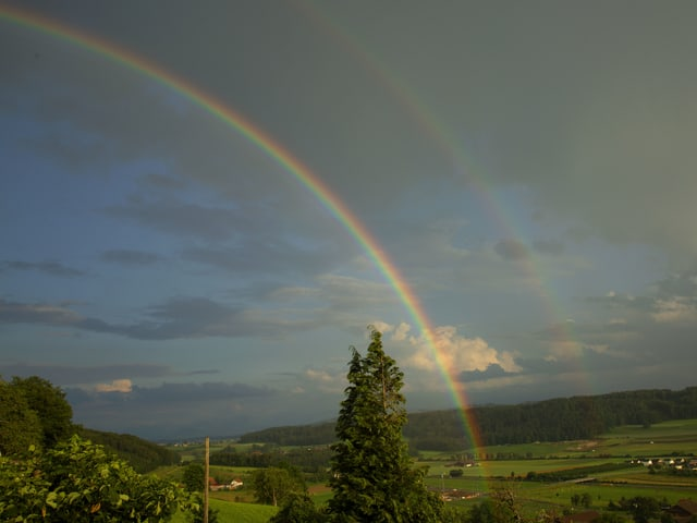 Ein Regenbogen verläuft von der Mitte nach rechts oben, über der Landschaft bei Buchs.