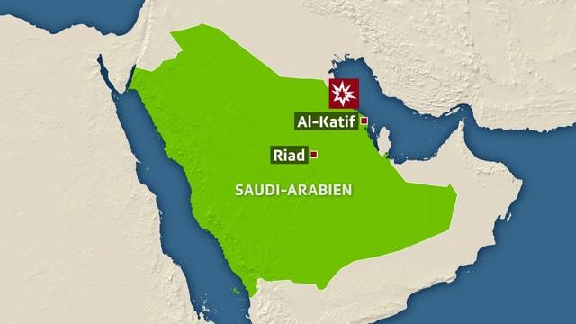 Karte von Saudi-Arabien, eingezeichnet sind Riad und Al-Katif im Osten des Landes am arabischen Golf.