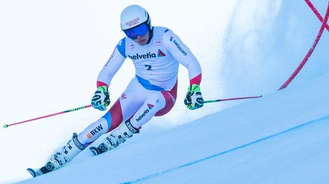 Gino Caviezel en acziun durant il slalom gigant a Tavau nua ch'el ha gudagnà il segund titel da campiun svizzer.