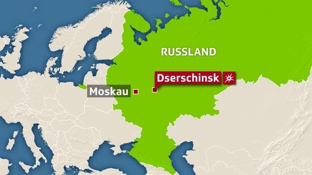 Karte Russlands mit Verortung von Dserschinsk.