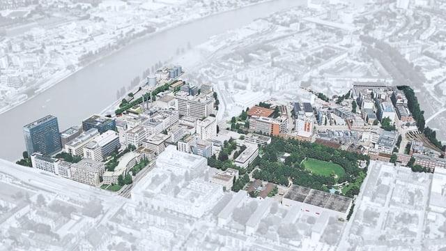 Visualisierung des Klybeckareals in Basel.