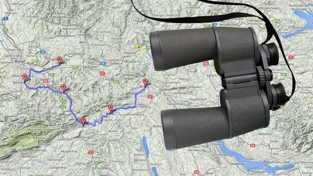 Feldstecher auf der Karte der Route.