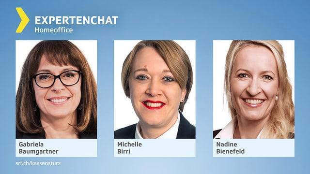 Porträts der drei Chat-Expertinnen