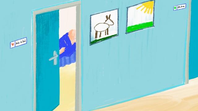Ein Gang mit einer leicht geöffneten Tür und kindlichen Zeichnungen an der Wand.