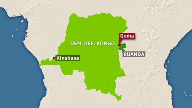 Karte mit Kongo und der Stadt Goma eingezeichnet.