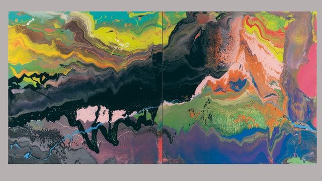 Ein Bild aus Lack, in der Mitte schwarz, drum herum sehr farbig.