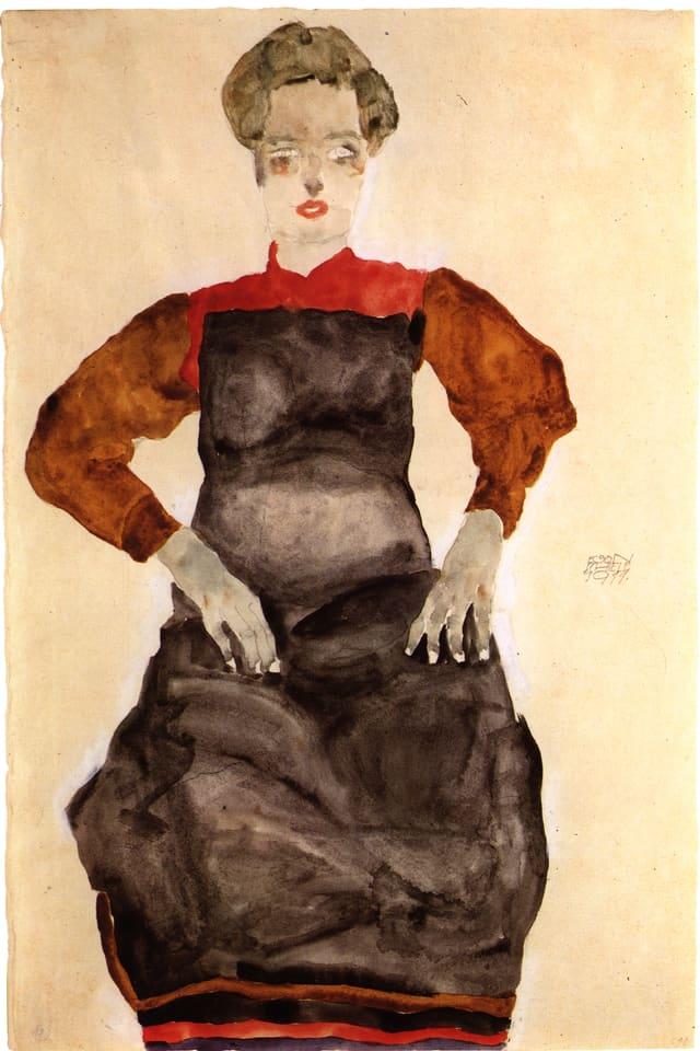 «Frau mit  schwarzer Schürze» von Egon Schiele.