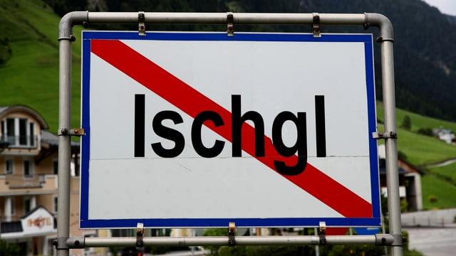Das Ortsschild von Ischgl.