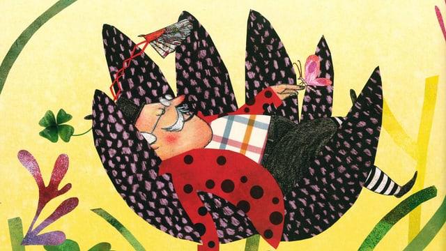 Eine Illustration mit einem älteren Herrn, der in einer übergrossen Blumenblüte schläft.