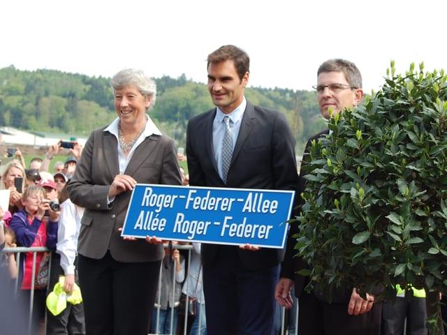 Die Roger-Federer-Allee in Biel ist eingeweiht.