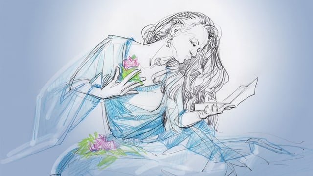Illustration der jugendliche Liebhaberin