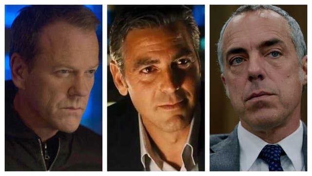 Aus Kiefer Sutherland (l.) und George Clooney (m.) wird Harry Bosch (r.).