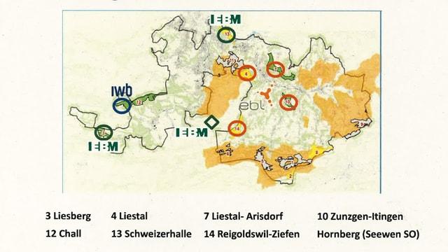 Kartenskizze mit eigezeichneten Standorten.