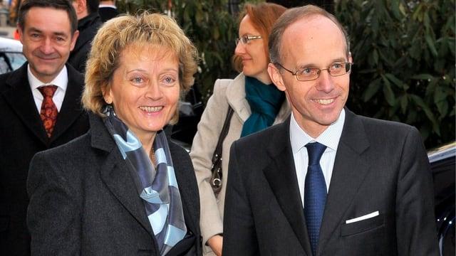 Bundespräsidentin velyne Widmer-Schlumpf und der luxemburgische Finanzminister Luc Frieden (keystone)