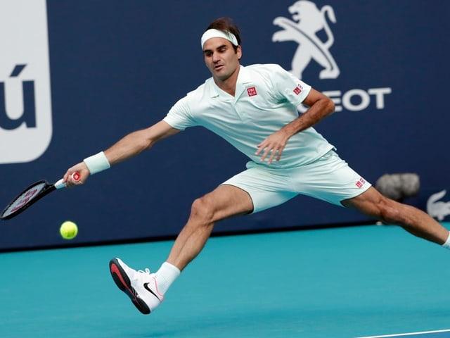 Roger Federer bei seinem 1. Auftritt in Miami.