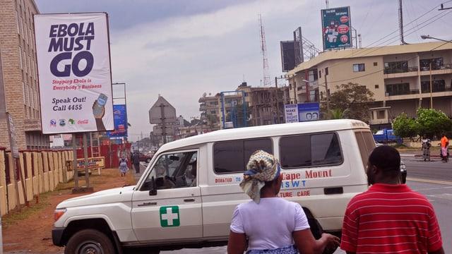 Ebola-Warntafefel in Liberias Hauptstadt Monrovia.