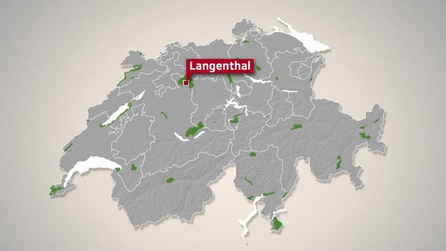 Karte der Schweiz mit kleinen grünen Punkten.