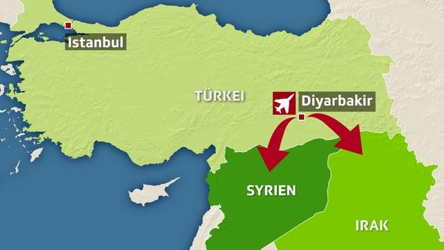 Eine Karte zeigt die Provinz Diyarbakir im Südosten der Türkei an.