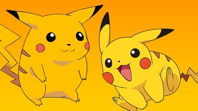 Zweimal Pikachu, einmal dick und einmal aktiv.