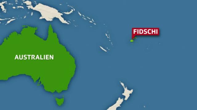 Landkarte mit Australien und Fidschi