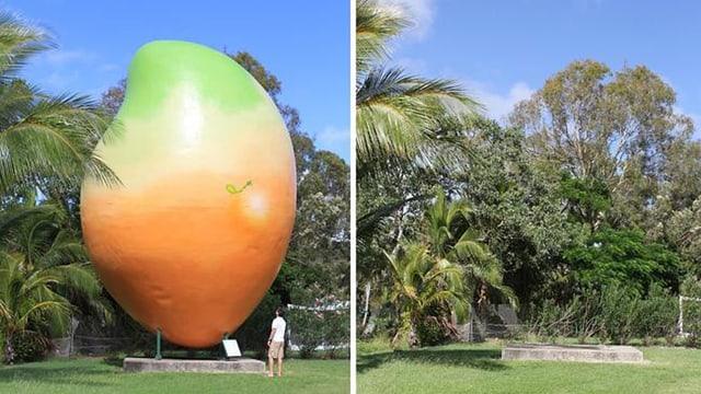 Zwei Biler: einmal mit der überdimensionale Mango, einmal ohne.