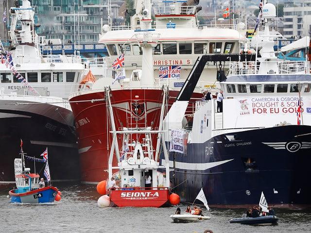 Die Brexit-Befürworter demonstrieren auf der Themse vor den Houses of Parliament mit einem Korso von riesigen Schiffen.