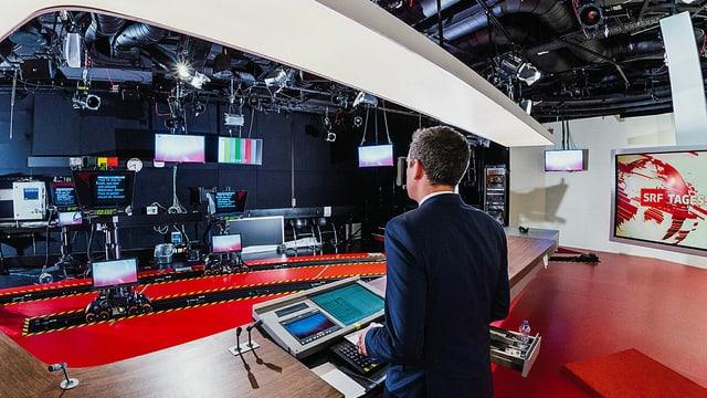 Das Tagesschau-Studio aus der Sicht des Moderators