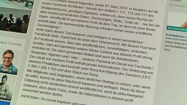 In screen shot dad in post sin Facebook. Il cuntegn è la brevs da chadaina per recaltgar ils dretgs vid ils agens posts sin facebook.