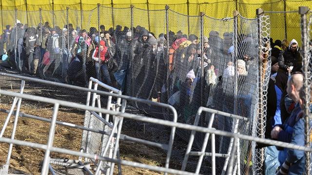 Flüchtlinge am Grenzübergang Spielfeld zwischen Slowenien und Österreich
