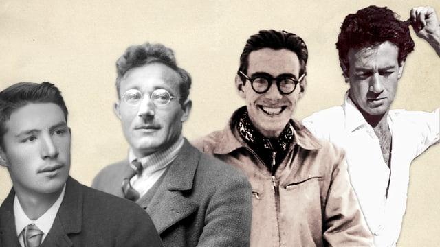 Fotomontascha cun ils chaus da Johann, Dumenic, Jon e Mic Feuerstein