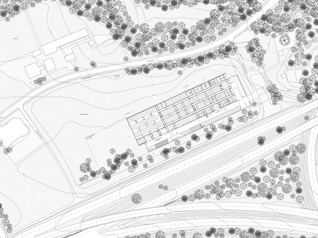 Blick auf einen Lageplan des neuen Sammlungszentrums.