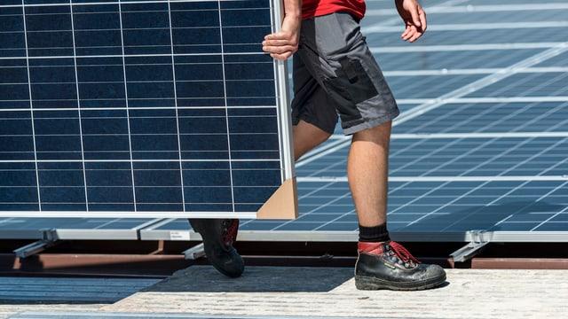 Arbeiter trägt ein Solarpannel