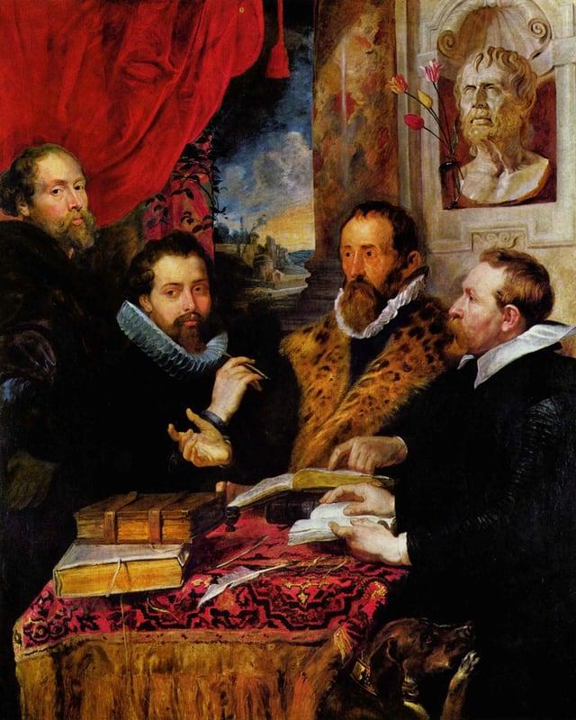 Rubens Bild mit vier Männern an einem Tisch und einer Seneca-Büste im Hintergrund.