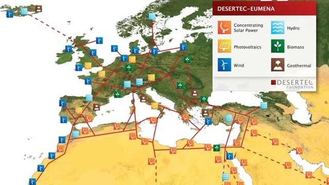 Karte, die geplante Anlagen in Afrika und Europa zeigt.