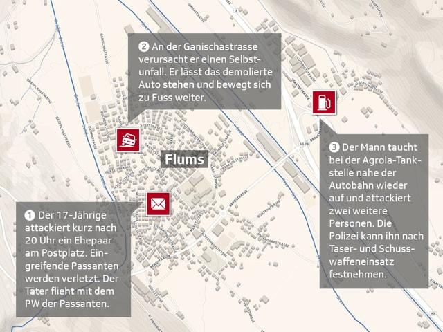 Karte von Flums mit den Einsatzorten.