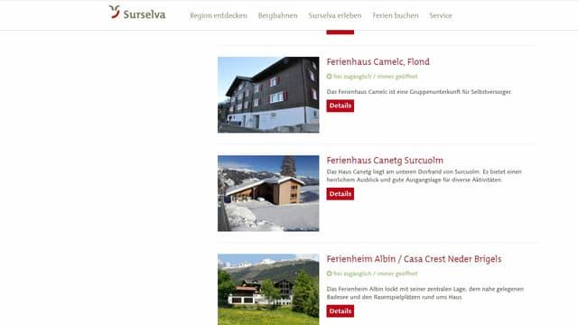Pagina d'internet da Surselva Turismus che fa reclama per ils champs da vacanzas.