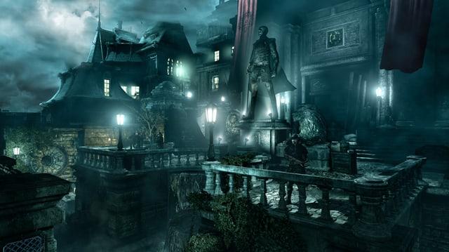 Ein streng bewachter Palast mit egomanischer Statue vor dem Eingang.