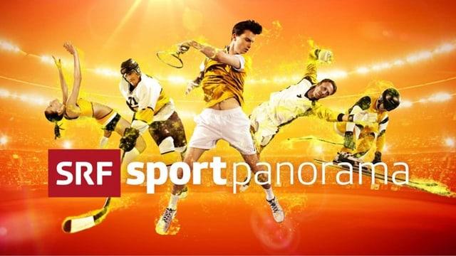 Keyvisual von sportpanorama: fünf Sportlerinnen und Sportler