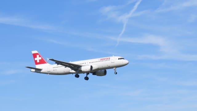 Swiss-Maschine im Landeanflug