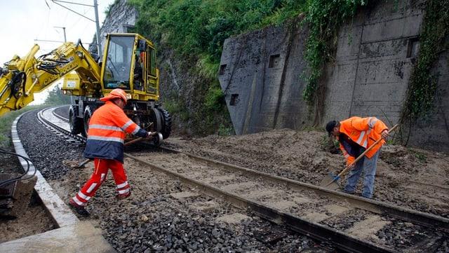 Gleisarbeiter beseitigen Erdrutsch
