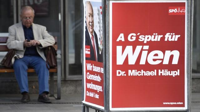 Ein Wahlplakat der wiener SPÖ mit der Aufschrift «A G'spür für Wien»