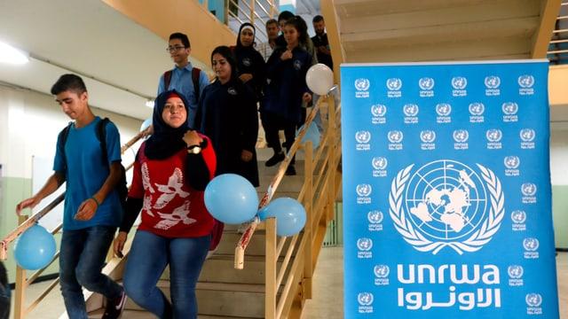 Schild von UNRWA.
