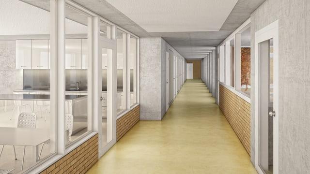 Eine Illustration eines Korridors.