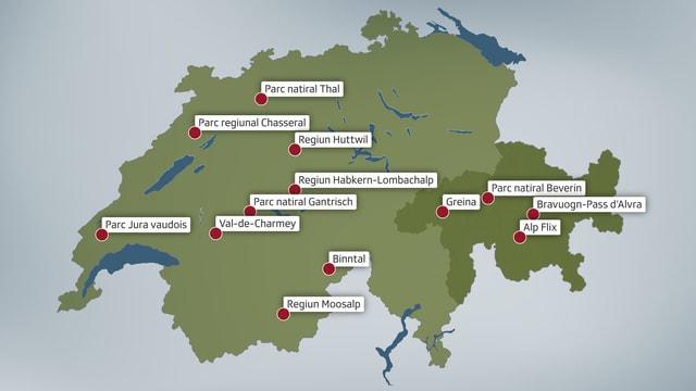 Charta da la Svizra cun 13 destinaziuns marcadas. En Grischun: Greina, Parc natira Beverin, Alp Flix, Bravuogn-Pass d'Alvra.