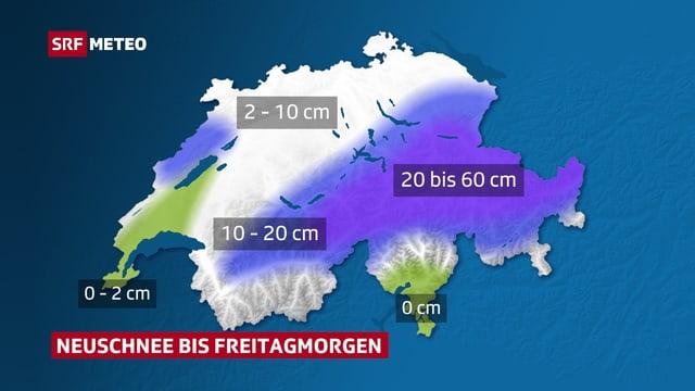 Karte der Schweiz mit den erwarteten Neuschneemengen. Am meisten gibt es in den zentralen  und östlichen Alpen.
