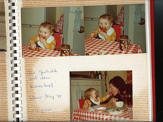 Drei Bilder mit Christina Land, die ein schokoladeverschmiertes Gesicht hat.