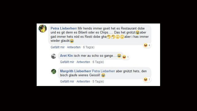 Screenshot von Facebook-Kommentaren.